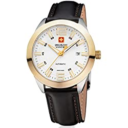 Swiss Military Hanowa Pegasus 05-4185.55.001 Swiss Made Watch Sapphire Glass, Yellow Gold Stainless Steel Case Men's Watch Bi-colour White/Gold Dial, Black Leather Strap