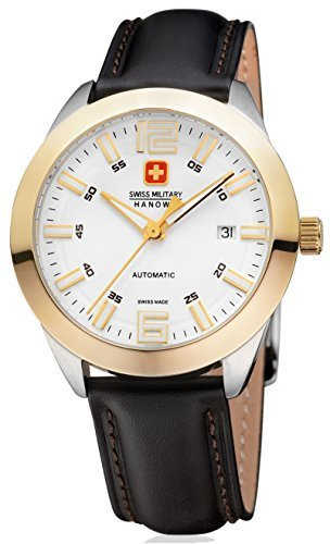 Swiss Military Hanowa Pegasus Herrenuhr Armbanduhr 05-4185.55.001 Swiss Made Saphirglas Gehäuse Gelbgold Edelstahl bicolor Zifferblatt weiß/gold Lederband schwarz