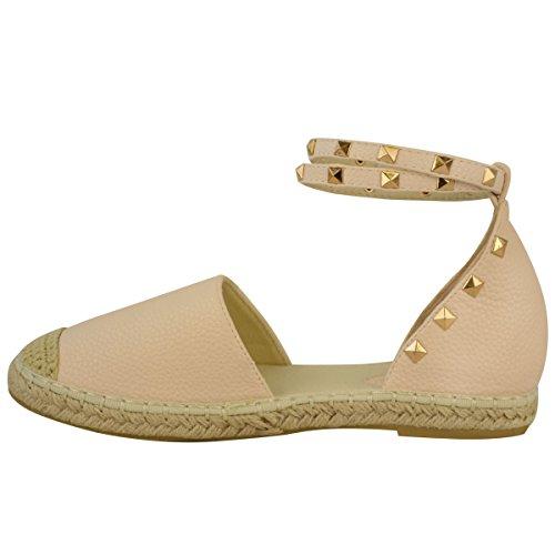 Sandales avec lanières - style espadrilles/rock - à clous/bride cheville - femme Faux cuir chair/clous dorés