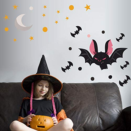 Wandtattoos Kinderzimmer Tattoos Tattoos Halloween Fledermaus Tattoos Selbstklebende Sterne Mond Gekritzel Dekorative Tattoos