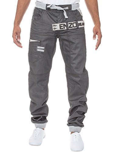 Enzo Herren schwarz beschichtet mit Manschetten Leg Jeans Hose elastischer Bund grau beschichtet
