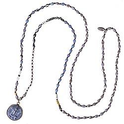 KELITCH Redondo Shakyamuni Buda Hebra Collar El Más Nuevo Largo Rebordeado Colgante Collares (Gris UN)
