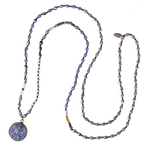 KELITCH Handmade Buddha Kette Damen Verknotet Perlen Yoga Damen Halskette - A -