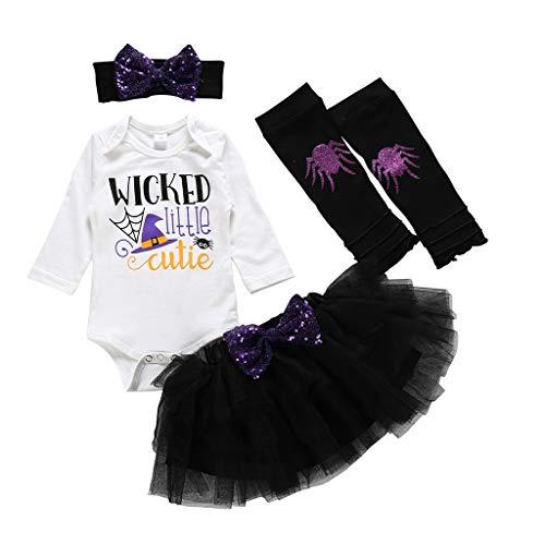 Halloween Baby Mädchen Anzug Dasongff Kinder Ghost Tutu Kleider Strampler Kostüm mit Stirnband Socken Wärmer Set 4 stücke (Kind Ghost Kostüm)