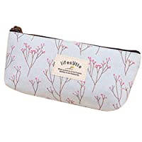 Qifumaer 1pc Students Canvas Pencil Cases Pen Bags Pouches Purses Small Portable for Girls Boys Pastoral Durable Storage Cosmetic Bag Stationery Box with Zipper