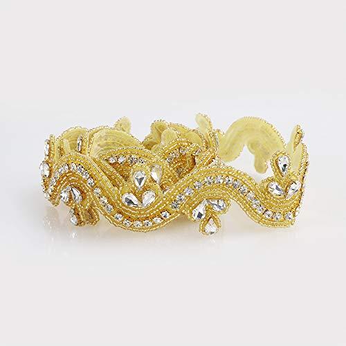 Verkauf Kristall Trim, 1Yard Strass Trim, Strass Applikation, Bridal Aufnäher, Hochzeit Aufnäher, Schärpe Aufnäher 405T-Gold