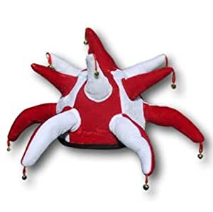 Jester Hat with Bells - Red and White