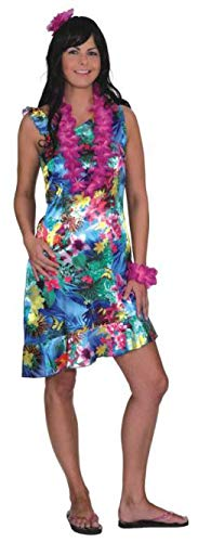 Beach Karibik Kostüm Party - shoperama Exotisches Hawaii Kleid aus Satin Blumen Damen Kostüm Strand Party Südsee Karibik, Größe:38