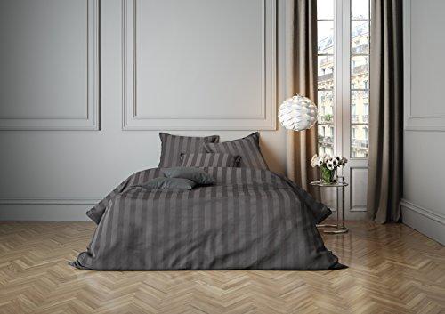 Mistral Home lenzuola Satin Stripe Gull Grey 2x 80x 80+ 1x 200x 200cm (120257)