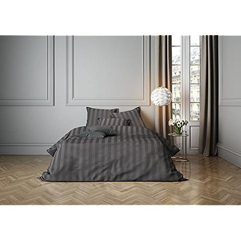 Mistral Home lenzuola Satin Stripe Gull Grey 2x 80x 80+ 1x 240x 220cm (120258)