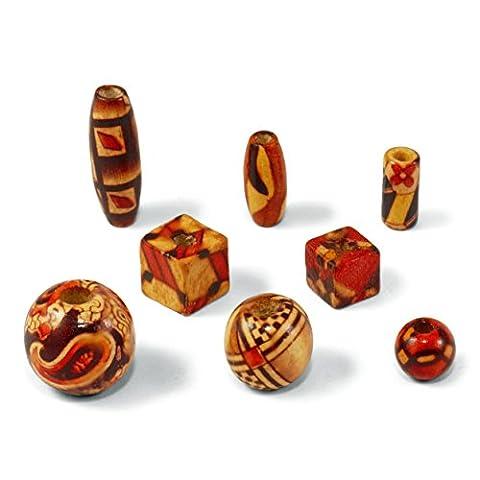200coloré en bois peint Perles Perles d'enfilage et les travaux manuels & # X272A DIY Bijoux & # X272A Craft Lot Disponible en différentes tailles et formes