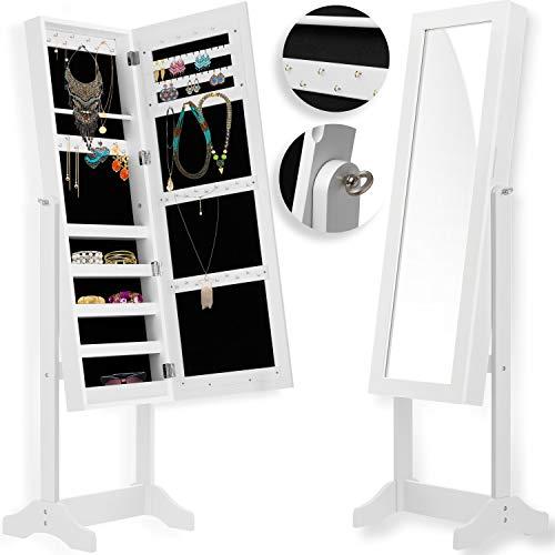 KESSER® Schmuckschrank mit Spiegel weiß, stehend & abschließbar Standspiegel Schmuckkasten Spiegelschrank