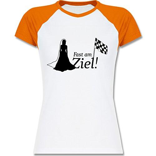 JGA Junggesellinnenabschied - Fast am Ziel - zweifarbiges Baseballshirt / Raglan T-Shirt für Damen Weiß/Orange