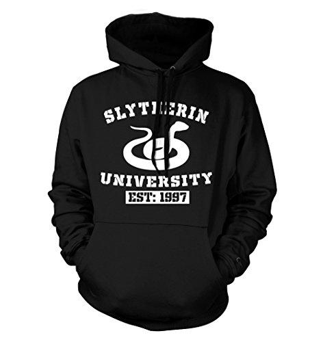 net-shirts Slytherin Hoodie Kapuzenpullover mit Aufdruck im College Style inspired by Harry Potter, Größe M, Schwarz