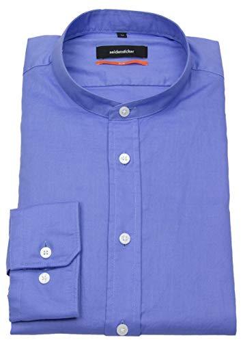 Seidensticker Hemd Slim Fit Stehkragen blau 663386.13, Größe 40