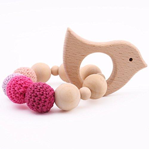 baby tete Jouet de Dentition en Bois Biologique Hochet Bebe Animaux en Forme de Montessori Jouets Maman Enfants Decoration Bijoux Bebe Douche Cadeau