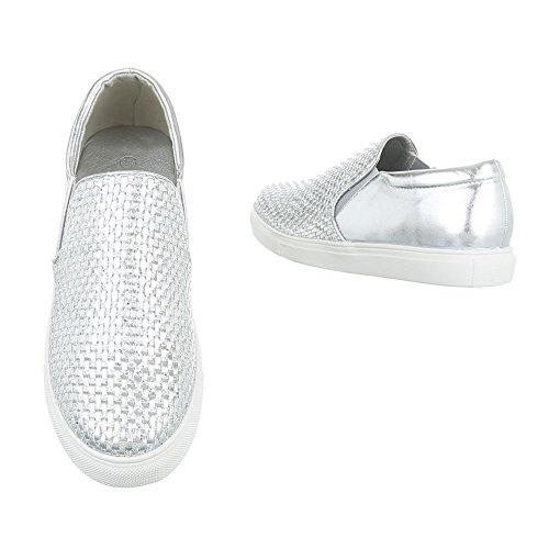 Sneakers Ital-design Basse Sneakers Da Donna Sneakers Basse Scarpe Casual Argento Wxy3226