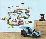 ufengke Karikatur Rennauto Flugzeug Wandsticker,Kinderzimmer Babyzimmer Entfernbare Wandtattoos Wandbilder