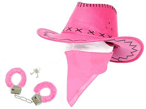 Cowgirl Outfit Karneval Damen Kostüm Verkleidung Accessoires Cowboyhut pink Plüsch Handschellen Bandana KV-29