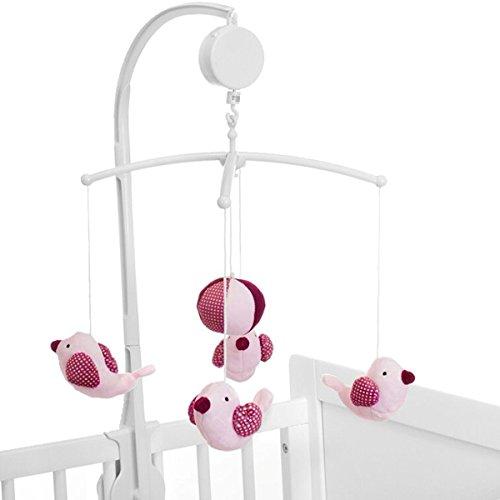 Musikmobile/Mobile (0m+) Kinder Baby (MIT SPIELUHR) Einschlafhilfe (VOGEL ROSA) (Figur Vogel Baby)