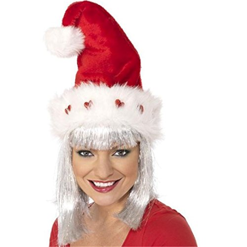 Smiffy's Deluxe Light Up Santa Hat Adult Christmas Hat One Size Individually