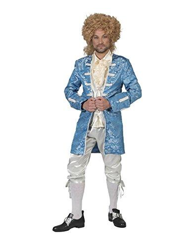 Renaissance Prinz Kostüme (Kostüm Monsieur Francesco Herren Barock Rokoko Graf Größe 60/62 Renaissance blau weiß Adel Karneval Fasching)