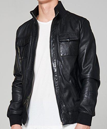 Goosecraft Lederjacke Herren, Model Leder Bomber 918, S bis XXXL, 100% Echtes Leder Jacke (Schwarz) Schwarz