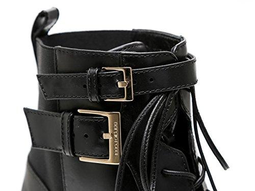 Bootines à talon Sergio Rossi en cuir et tissu noir - Code modèle: A70520 MAF656 1000 Noir