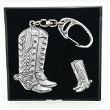 Zinn Schlüssel Ring Badge Geschenk-Sets Cowboy Stiefel -