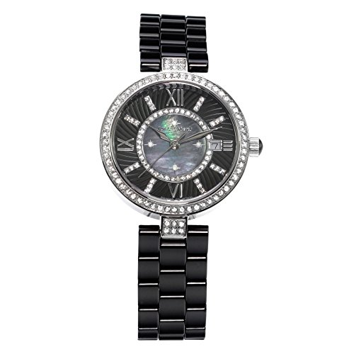 Stella Maris Damen Armbanduhr - Analog Quarz - Premium Keramik Armband - Perlmutt Zifferblatt - Diamanten und Swarovski Elemente - STM15SM2