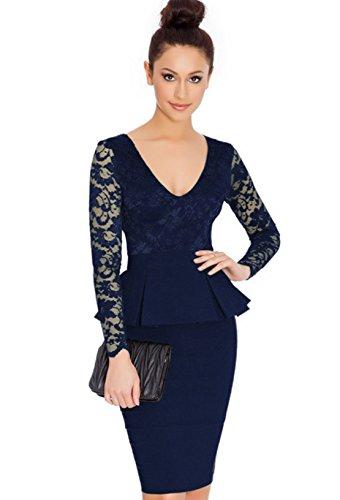 Peplum Kleid (COSIVIA schößchen Kleid Langarm Tiefem v-Ausschnitt Spitze Kleid Plus größe Elegante Tragen zu Arbeiten, Figurbetontes Kleid heiße Frauen midi Kleid (XL, Dunkelblau))