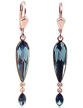 Ohrringe mit Kristallen von Swarovski® Blau - Rosegold Denim Blue - NOBEL SCHMUCK