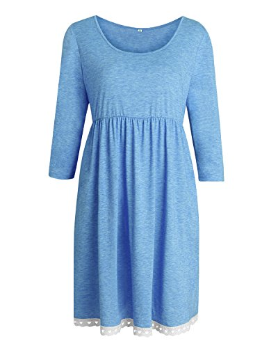 Auxo Damen 3/4 Arm Sommer Party Club Cocktail Lose Oversize Langshirt Mini Kurz Kleider Blau