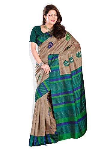 Kavvya Fashion Beige and Blue Printed Pure Mysore Silk Saree