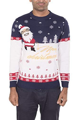 Noroze Herren Damen Unisex Prämie Weihnachten Pullovers Erwachsene Neuheit Frech Knitted Hässlich Pulls Strickpullover (L, Merry Weiß)