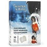 Winter & Bani Wärmepads 10 x 2 Stück | 8 Stunden warme Füsse | Extra dünne Fußwärmer Pads | Natur pur | Sofort einsatzbereit | Selbstklebend | Für alle Schuhe