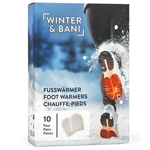 Winter & Bani Wärmepads 10 x 2 Stück - 8 Stunden warme Füsse - Extra dünne Fußwärmer Pads - Natur pur - Sofort einsatzbereit - Selbstklebend