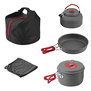 OUTAD Outdoor Camping Hiking Picnic 5 Pieces Pot Set Non-Stick Cookwear for 2 or 3 People