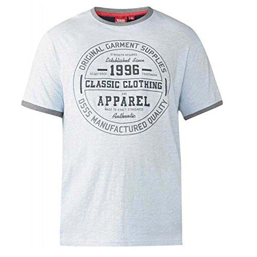 D555 da uomo duca grande lungo kingsize rueben t shirt - wilfred - azzurro cielo, dimensione - 5xl - 59-61