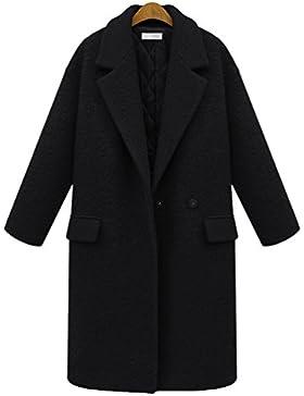 YuanDian Mujer Solapa Manga Larga chaqueta Añadir Algodón Color Sólido Plus Size Abrigo