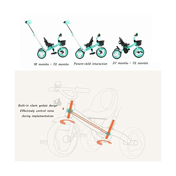 3 In 1 Kids' Trikes 18 Months To 6 Years 360° Swivelling Saddle Seat Can Be Adjusted Back Kids Tricycle Detachable And Adjustable Push Handle 3 Wheel Baby Bike Maximum Weight 25 Kg,Orange BGHKFF ★Material: High carbon steel frame, sturdy, lightweight, durable; suitable for children aged 1.5-6, maximum weight 25 kg ★ 3-in-1 multi-function: convertible into a trolley and a pedal tricycle. Remove the hand putter as a tricycle. ★Safety design: golden triangle structure, safe and stable; front wheel clutch, will not hit the baby's foot; 2 point seat belt 3