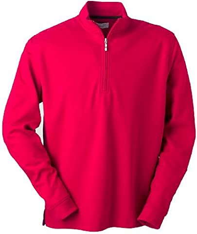 Ashworth 4747C Men's Micro Brushed Half-Zip Jacket-Men's Athletic Jackets-Medium-Carmine Red by Ashworth