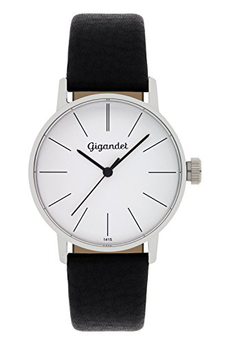 Gigandet Women's Quartz Wrist Watch Minimalism Analogue Leather Strap Silver Black G43-001