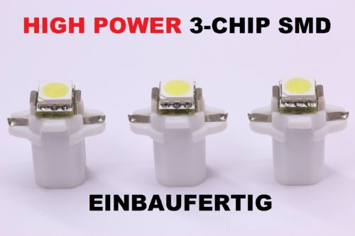 Preisvergleich Produktbild 3 x weiße high Power SMD-LED Tacho Beleuchtung VW T3 Bus - Golf 2 - Polo 86c weiß