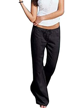 Yefree Pantalones Acampanados de Mujer Pantalones de Lino cómodos Suaves Pantalones Acampanados de Cintura Alta...