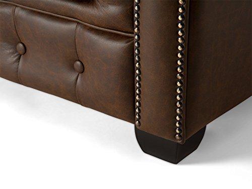 massivum Sofa Chesterfield 3-Sitzer 230x72x90 Echt-Leder vintage-braun Couch im englischen Stil mit Federkern-Polsterung