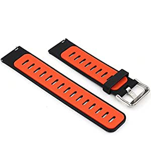 Woodln Silicone Remplacement Bande de Bracelet Pour Pebble Time/ Pebble Time Steel / Asus Zenwatch 1st 2nd / Moto 360 2nd Men's 46mm / G Watch R / LG Watch Urbane / Gear 2 R380 Smart Watch Strap (Black Orange)
