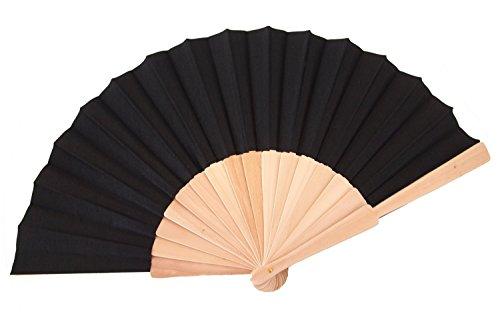 Kostüm Heißesten - Libetui Handfächer mit Holzgriff Fächer Sommer Feste Party Hochzeit Hand Fan (Schwarz)