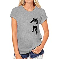 Gusspower Camisetas Estampado de Gato Las Mujeres, Camisa de Manga Corta Causal Tops Suelto