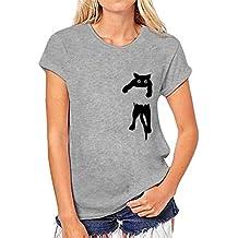 BHYDRY Camiseta con Estampado de Gatos para Mujer Blusa de Manga Corta Suelta Casual Tops sin